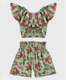KIDSCRAFT Half Sleeves Floral Print Off Shoulder Top With Shorts - Green
