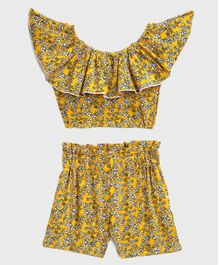KIDSCRAFT Half Sleeves Floral Print Off Shoulder Top With Shorts - Yellow