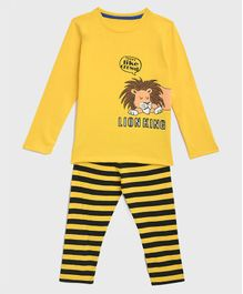 KIDSCRAFT Full Sleeves Lion Printed Night Suit - Yellow