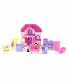 Doll House with Furniture Set - Pink