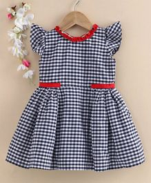 Rassha Cap Sleeves Checked Fit & Flare Dress - Navy Blue