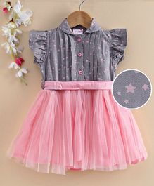 Rassha Cap Sleeves Stars Print Fit & Flare Tulle Dress - Light Pink & Grey