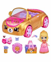 Shopkins Happy Places Royal Convertible Car with Mini Figurine - Pink Golden