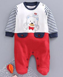 Wonderchild Full Sleeves Bear Embroidery Footed Romper - Red
