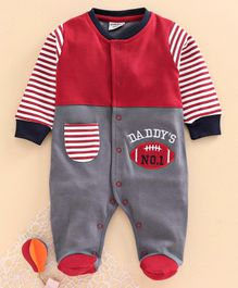 Wonderchild Full Sleeves Baseball Patch Footed Romper - Slate & Red
