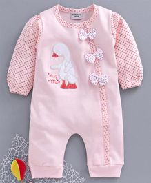 Wonderchild Full Sleeves Duck Patch Footed Romper - Pink