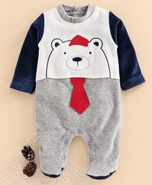 Wonderchild Full Sleeves Bear Patch Work Velour Footed Romper - Grey