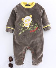 Wonderchild Full Sleeves Animal Patch Work  Velour Footed Romper - Brown