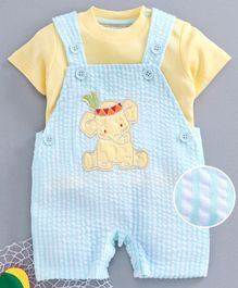 Wonderchild Half Sleeves Tee With Elephant Patch Striped Dungaree - Blue