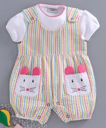 Wonderchild Short Sleeves Solid Tee With Striped Bunny Patch Dungaree - Pink
