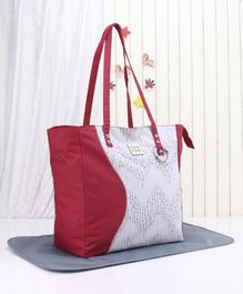 Mee Mee Diaper Bag With Changing Mat - Red Grey
