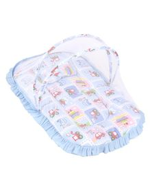Mee Mee Mattress with Pillow & Mosquito Net Vehicle Print - Sky Blue