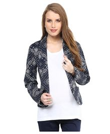 Mamacouture Full Sleeves Floral Work Maternity Blazer - Black