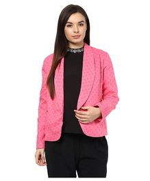 Mamacouture Polka Dot Print Full Sleeves Maternity Wear Blazer - Pink