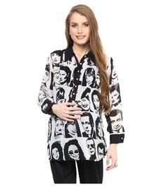 Mamacouture Maternity Wear Full Sleeves Face Print Top - Black