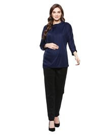 Mamacouture Full Sleeves Solid Maternity Top - Blue