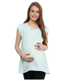 Mamacouture Cap Sleeves Solid Maternity Wear Top - Light Blue