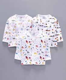 Cucumber Full Sleeves Vest Vehicle Print Pack of 3 - White