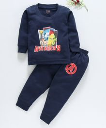 Bodycare Full Sleeves Thermal Set Avengers Print - Navy Blue
