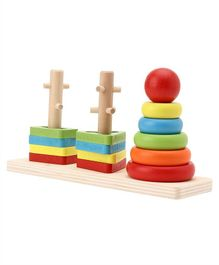 Tinykart Three Column Rainbow Stacking Tower - Multicolour