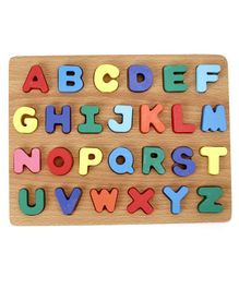 Tinykart Wooden Board with Alphabets - Multicolor