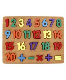 Tinykart Wooden Board with Numbers - Multicolor