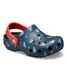 Crocs Classic Shark Design Clogs - Navy Blue