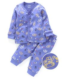 Cucumber Full Sleeves Night Suit Robot Print - Purple