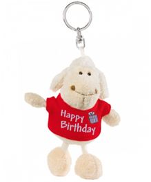 Nici Plush Key Chain- White Sheep with Happy Birthday Print