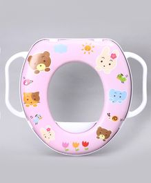 Babyhug Cushioned Potty Seat with Handle Animal Print - Pink