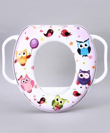 Babyhug Cushioned Potty Seat with Handle Owl Print - White