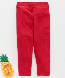 Adams Kids Solid Colour Full Length Leggings - Red