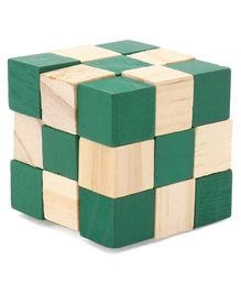 Falcon Wooden Cube Puzzle - Green