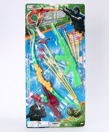 Skylofts Chocozone Gun Shooting Toy With 6 Arrows & Slingshot - Green Yellow