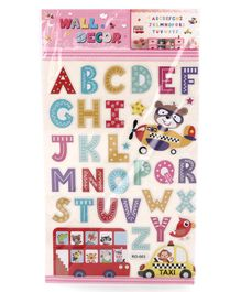 Alphabet Shape Wall Sticker Pack of 35 - Multicolor