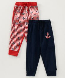 Eteenz Full Length Track Pant Anchor Print Pack of 2 - Navy Red