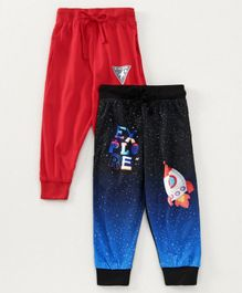 Eteenz Full Length Track Pant Space Print Pack of 2 - Navy Red