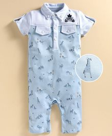 JusCubs Half Sleeves Giraffe Printed Polo Romper - Light Blue