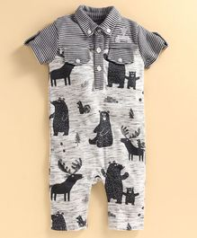 JusCubs Half Sleeves Bear Printed Polo Romper - Grey