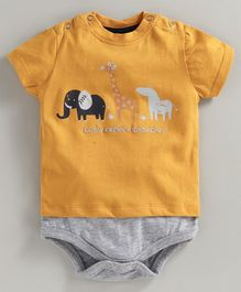 JusCubs Half Sleeve Animal Printed Onesie - Yellow