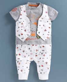 JusCubs Half Sleeves Sun & Ship Printed Suit Style Romper - White & Grey