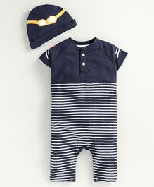 JusCubs Full Sleeves Striped Romper With Cap - Navy Blue