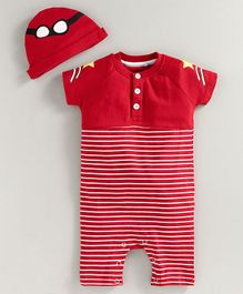 JusCubs Half Sleeves Striped Romper With Cap - Red