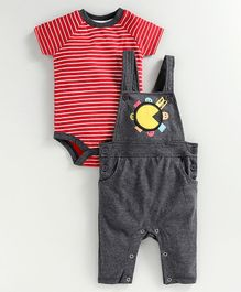 JusCubs Half Sleeves Striped Onesie With Dungaree Style Romper - Red & Grey