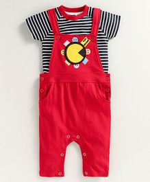 JusCubs Half Sleeves Striped Onesie With Dungaree Style Romper - Red & Black