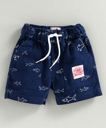 JusCubs Fish Printed Shorts - Dark Blue