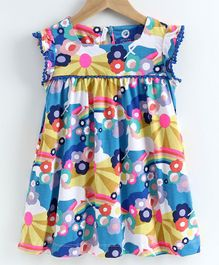 JusCubs Short Sleeves Unicorn Printed Dress - Yellow & Blue
