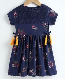 JusCubs Floral Print Half Sleeves Tassel Detailing Dress - Dark Blue