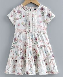 JusCubs Short Sleeves Flower Print Dress - White
