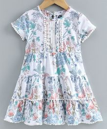 JusCubs Short Sleeves Layered Flower Print Dress - White